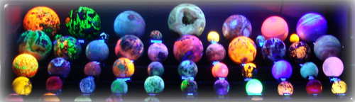Spheres from the flourecent room during the 2008 Mineral and Gem Society of Castro Valley Rock Show held in Centenial Hall, Hayward, CA.